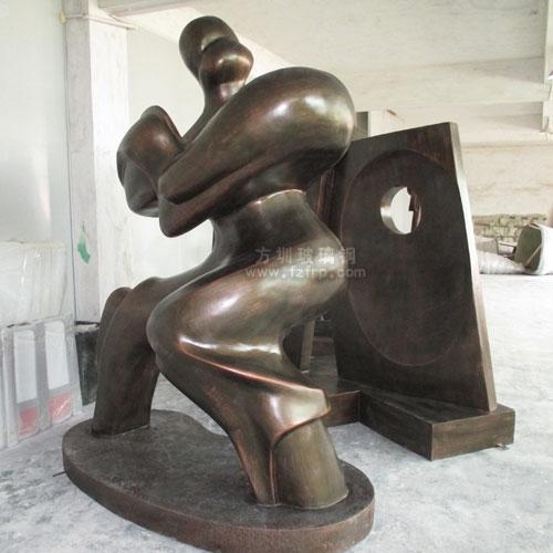 """观澜河""""一河两岸""""玻璃钢太极人物仿铜抽象雕塑"""